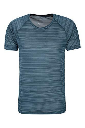 Mountain Warehouse Endurance gestreiftes Herren-T-Shirt - UPF 40, leicht, schnell trocknend, feuchtigkeitsregulierend, atmungsaktiv - Wandern, Laufen, Spazierengehen, Frühling Petrolblau Medium - Laufen Im Winter T-shirt