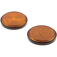 sourcingmap 2Stk 56mm Dmr Orange Schwarz Plastik Runde Reflektierende Reflektor f/ür Motorrad DE de