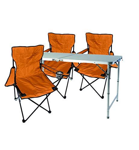 Mojawo  4 Piezas. Multistore 2002 - Juego de Muebles de Camping (Aluminio, 120 x 60 x 58/70 cm, 1 Mesa de Camping XXL, Altura Regulable, con asa y 3 sillas Plegables), Color Naranja