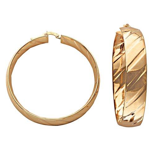 9ct oro giallo 42mm Flat Track Orecchini a cerchio, misura media