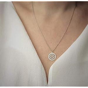 SCHOSCHON Damen Halskette mit Blume des Lebens Anhänger 925 Silber ø 15 mm // Weihnachtsgeschenke Mama Mutter Kette Schmuck Lebensblume Silberkette Geschenk