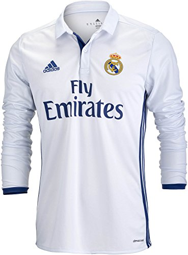 Adidas Herren MEN 'S REAL MADRID LONG SLEEVE Home Fußball Jersey 2016/17 (weiß), Herren, Crystal White/Raw Purple (Real Jersey Madrid Home Youth)
