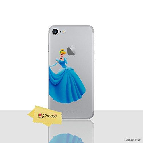 iCHOOSE Fürstin Prinzessin Klar TPU Gel Silikonkasten Hülle mit Displayschutzfolie und Reinigungstuch für Apple iPhone 6 6s / Cinderella (Apple Reinigungstuch)