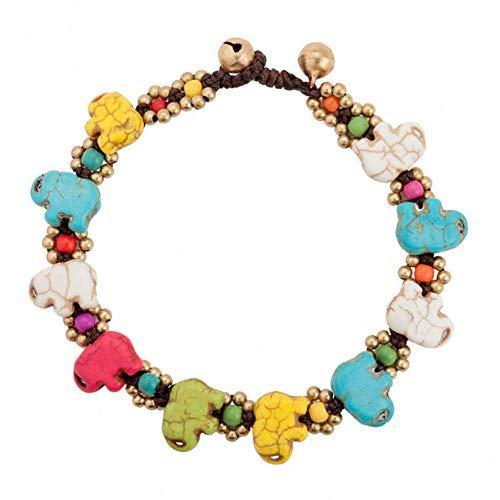 JLDMAI Retro Bohemian Elephant Charm Stein Gold-Color Perlen Kette zu Fuß Fußkettchen für Frauen Beach Fashion Fußkettchen