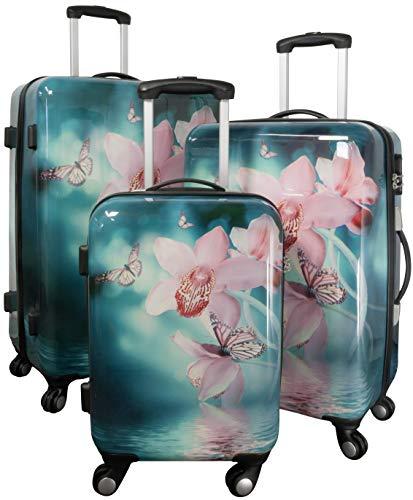 Trendyshop365 Hardcase Koffer-Set 3-teilig Blumen-Motiv Orchidee - 4 Räder Zahlenschloss bunt