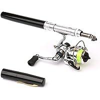 SeniorMar Mini bolígrafo portátil Tipo caña de Pescar caña de Pescar telescópica con Carrete de Pesca al Aire Libre Accesorios de Aparejos de Pesca - Negro
