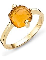Miore Damen-Ring 9 Karat ( 375 ) Gelbgold Citrin Quartz 2ct. Quarz orange Quadratschliff - MNA9031
