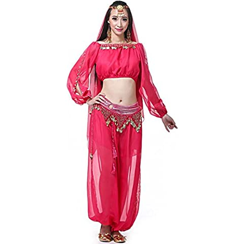 Mujer pantalones cortos de linterna multicolores largo manga anillo hilado danza performance Kit de India rose red 4