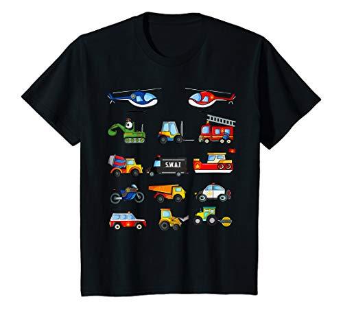 Kinder Fahrzeuge Shirt Traktor Bagger Polizei Feuerwehr Auto T-Shirt (Mit Feuerwehrauto Kinder Fahrt Dem)