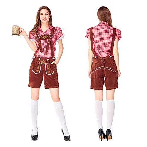 Girl Sexy Kostüm Bier - NGHJF Bayerischer Barkeeper Cosplay Kostüm Das Oktoberfest Kostüm Kariertes Hemd Bühnenshow Fancy Party Girl Kostüm@Top und Hose_S