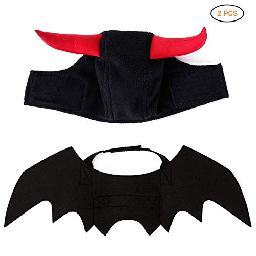 EisEyen Halloween Pet Hund Bat Wings Katze Fledermaus Kostüm, Fledermausflügel für Katzen Hund mit Horn, Kürbis Glocke, Fledermaus Flügel Katze Haustier (Flügel+Horn)
