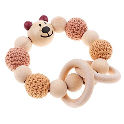 MagiDeal Babypflege Schmuck Beißring aus Holz Ringe Häkeln Perlen Beißringe Baby Teether Spielzeug Säugling Greifling Armband - Stil 5