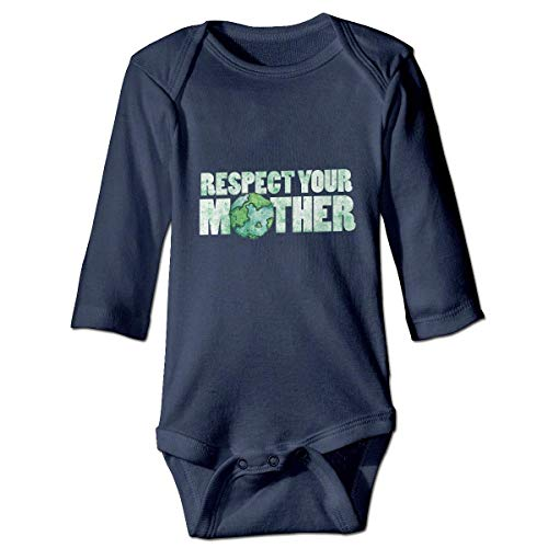 WBinHua T-Shirts für Baby-Jungen,Respect Your Mother Earth Vintage Earth Day Baby Unisex Long Sleeve Onesies Bodysuits Vintage Baby Onesies
