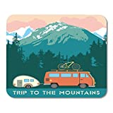 AOHOT Mouse Pads Green National Retro Trips to The Mountains Trailer and Bike of Landscape Park Mouse pad 9.5″ x 7.9″ for Notebooks,Desktop Computers Accessories Mini Office Supplies Mouse Mats