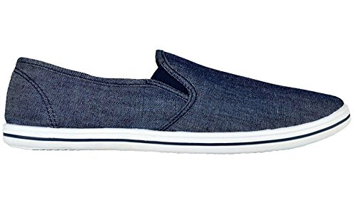 Mens Casual Canvas Plimsoll Deck Shoe Espadrilles Pumps Dark Denim 10