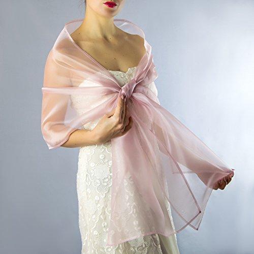 Chal organza color rosa melocoton novia boda novia