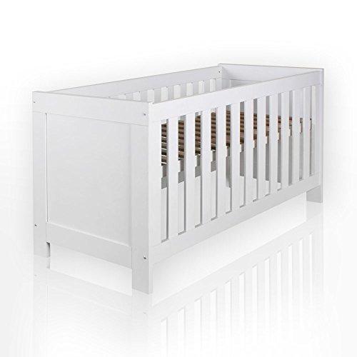Felix Babyzimmer Wickelkommode Babybett Kleiderschrank Weiß oder Akaziengrau (Weiß, Bett)
