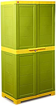 Cello Novelty Big Cupboard with 3 Shelves (Green and Yellow)