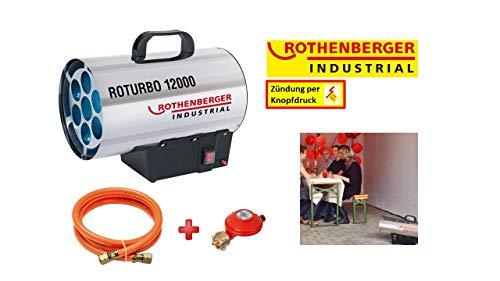 ROTHENBERGER 1500000050 Industrial Gas – Heiz – Kanone / Gebläse inkl. Schlauch und Regler, 13,3 kW