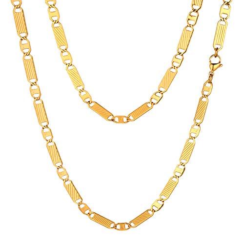 FOCALOOK Halskette für Männer Jungen 18k vergoldet Edelstahl Gliederkette 5mm massiv Marina Kette Halskette Punk Hip Hop Rapper Halsschmuck 70cm/28(Gold)