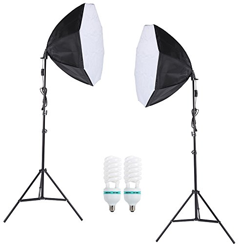 Andoer® Fotografia Photo Professional Lighting Kit Set con 5500K 135W Daylight Studio Light Bulb stand Octagon Softbox