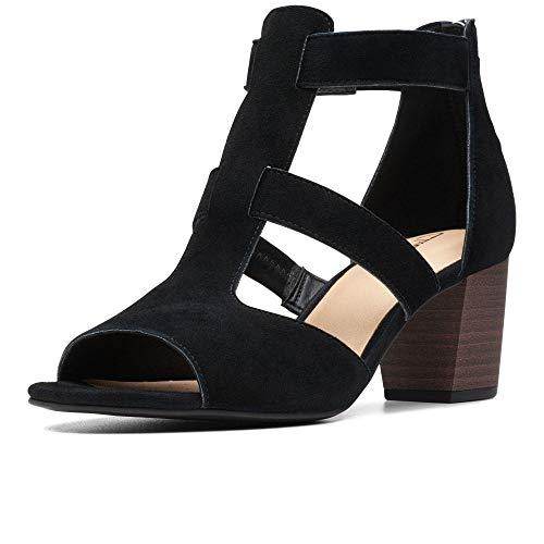 Clarks Deloria FAE Womens Open Toe Block Heel Sandals 5.5 D (m) UK/39 EU Schwarzes Wildleder Clarks Womens Heels
