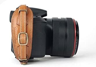 Herringbone Heritage Leather Camera Hand Grip Type 2 Hand Strap for DSLR Camel Brown