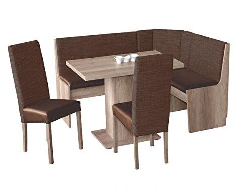 Eckbankgruppe Hamburg 3 mit Truhe Eiche sonoma Dekor 165x125 cm umstellbar bestehend aus Tisch, Bank, und 2 Stühle