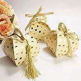 Awtlife Lot de 50 boîtes à Bonbons rustiques en Kraft pour fête de Mariage, Anniversaire, fête prénatale Doré Clair