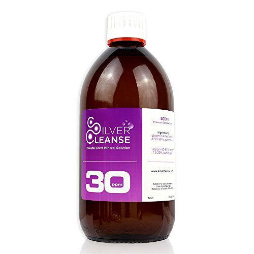 SilverCleanse Colloidal Silver 30ppm Double Pack (2x 500ml Glass Bottles & T/E Cap) + FREE FULL 50ml Spray