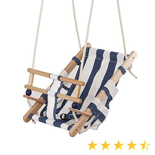 Izzy Baby Kinder-Schaukel, Kleiner Seemann, aus Holz, maritimer Stil, Gurt und Sicherheitsbügel (Holz Baumwolle Baby Schaukel)