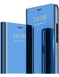 MadBee Funda iPhone 11 (6,1 Pulgadas) [Protector Pantalla], Fundas de Espejo Elegante Brillante Standing Flip Carcasa Cover Carcasa Funda Case para iPhone 11 (6,1 Pulgadas) (Azul)