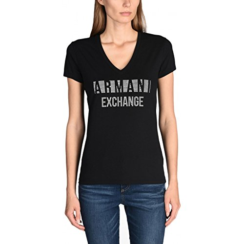 Armani Exchange Damen T-Shirt Schwarz Schwarz Medium