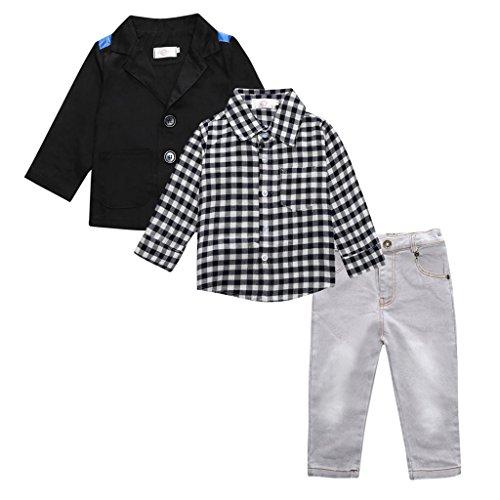 Baby Kleinkind Bodysuit, Mantel + Shirt + Jeans Hose, Kleidung Sets, Junge Anzug Suit, für Jungen Kleinkind, Taufe Hochzeit Weihnachten - Wie das Bild zeigt, 3T