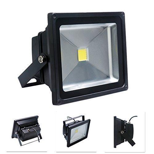 Auralum® 50W LED Baustrahler Flutlicht Fluter Gartenstrahler Scheinwerfer wasserdicht IP65 kaltweiss 6000-6500K schwarz