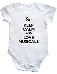 HippoWarehouse Keep Calm and Love Musicals (Mantén la calma y ama los musicales) body bodys pijama niños niñas unisex