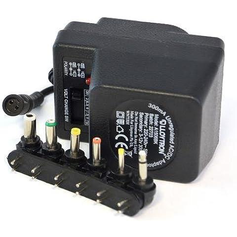 Lloytron - Adaptador multivoltaje (300 mA, AC/DC), color negro
