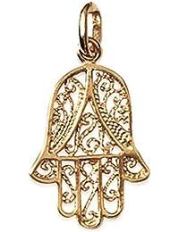 Colgante bañado en oro–Mano de Fátima calada con arabescos–Bijoux Mujer Hombre Mixta