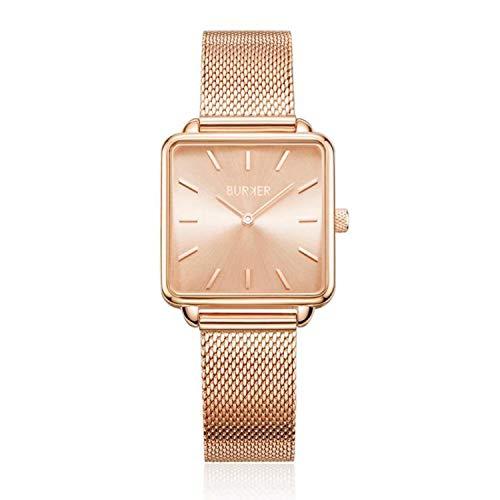 BURKER Chloe - Damenuhr rose gold | 28mm Uhr für Damen mit Ziffernblatt in rose gold | Frauen Quarz Armbanduhr wasserdicht (30M) | Kleines Flaches Watch Gehäuse - Uhren Armband inklusive