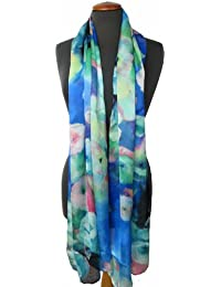 Nella-Mode CHIC & ELEGANT: grosser SEIDENSCHAL in modernem künstlerischem floralem Design; Schal aus aus fliessender luftig leichter Seide mit floralem-Muster, ca. 180x65 cm, 100% Seide, Handrolliert