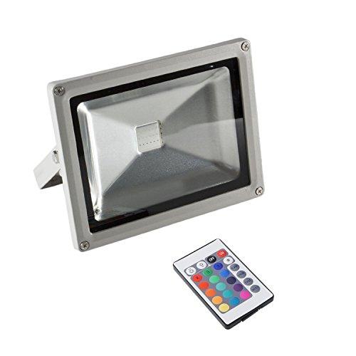 SAILUN LED Scheinwerfer RGB Flutlicht 50W Strahler Fluter Mit IR-Fernbedienung Wasserdicht IP65 Silber Aluminiumkörper