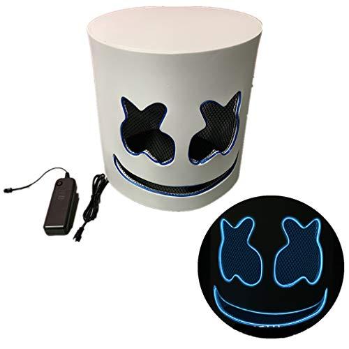 Festival Kostüm Musik - LED leuchten Maske, Eva Marshmallow DJ Musik Ball Glowing Horror Thriller gruselige Maske für Festival Cosplay Halloween Kostüm,Blau