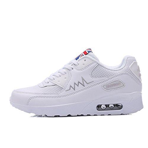 WZG Stitching beiläufige Schuhe der neuen Sommeratmungsaktive Mesh-Schuhe Kissen Laufschuhe tragen White