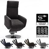 Cavadore TV-Sessel Cobra mit 2 E-Motoren und Aufstehhilfe / Elektrisch verstellbarer Fernsehsessel mit Fernbedienung / Relaxfunktion, Liegefunktion / bis 130 kg / L: 71 x 112 x 82 / grau