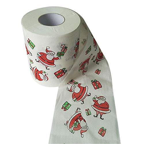 ODJOY-FAN Weihnachten Stil Rollenpapier Weihnachten Muster Rollen Papier Drucken Interessant Toilette Papier Tabelle Küche Papier 10 x 10 cm(Multicolor,1 PC)