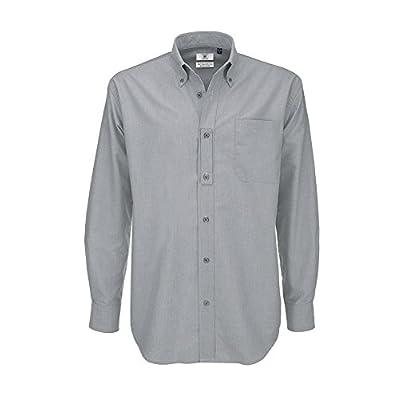 B&C - Camisa de manga larga Modelo Oxford (Tallas grandes) para Hombre Caballero - Fiesta/Trabajo/Eventos importantes (6XL/Plata luna)