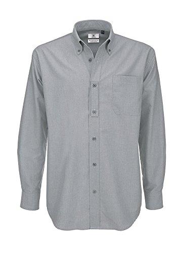 B&c oxford shirt, camicia casual uomo, grey (silver moon), 44(dimensioni produttore: large)