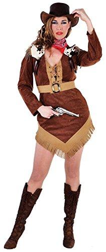 M212148-XL brauntöne Damen Cowgirl Kostüm Cowgirl Kleid Gr.XL (Braune Wildleder-fransen-jacke)
