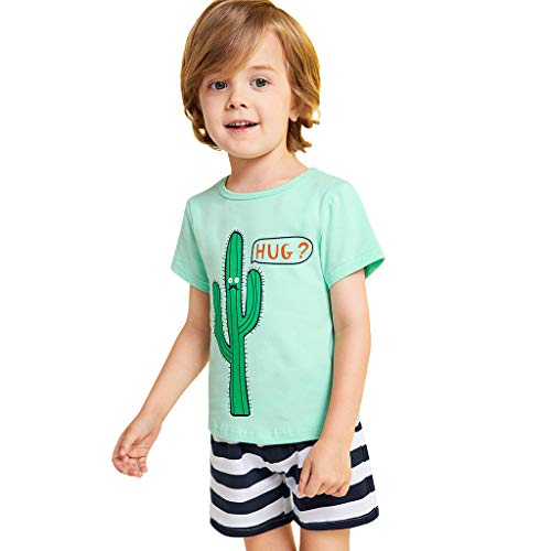 leinkind Kaktus Cartoon gedruckt Shirt Tops + gestreifte Shorts Pjs Outfits Set ()