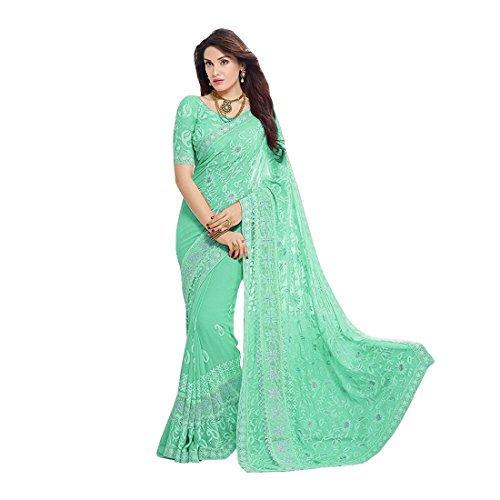 Craftsvilla Women's Chiffon Zari Embroidery Saree with Blouse Piece (Green)